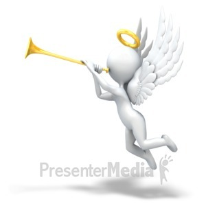 ID# 8869 - Angel Playing Trumpet - Presentation Clipart