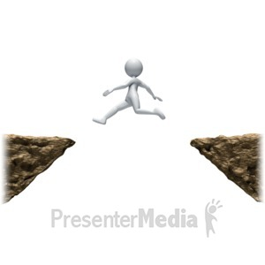 ID# 8870 - Stick Figure Leaping Ledges - Presentation Clipart