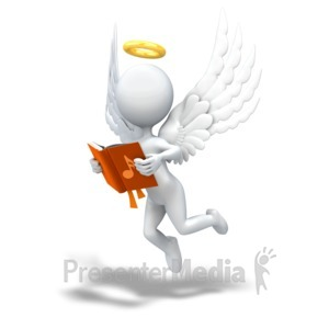 ID# 8872 - Angel Looking in Song Book - Presentation Clipart