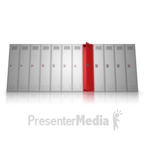 ID# 9012 - School Locker Row Stand Out - Presentation Clipart