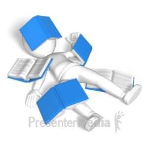 ID# 9024 - Stick Figure Covered In Books - Presentation Clipart
