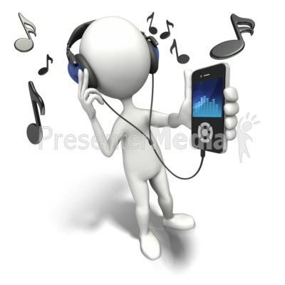 Listening To Music Player PowerPoint Clip Art