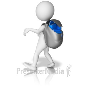 ID# 9032 - Heavy Book Loaded Backpack - Presentation Clipart