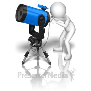 ID# 9038 - Stick Figure Blue Telescope - Presentation Clipart
