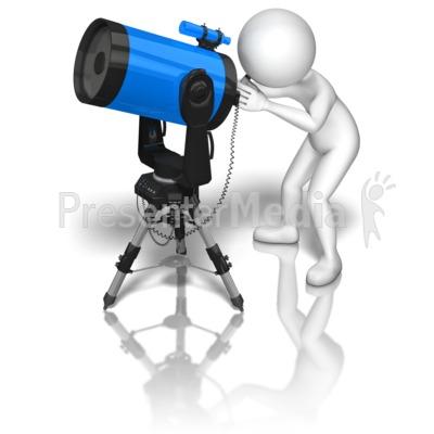 Stick Figure Blue Telescope PowerPoint Clip Art