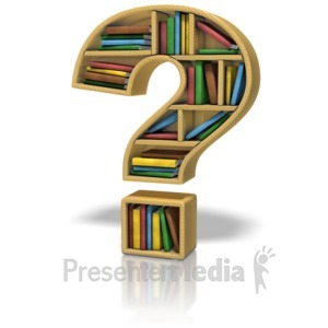 ID# 9074 - Question Mark Bookshelf - Presentation Clipart