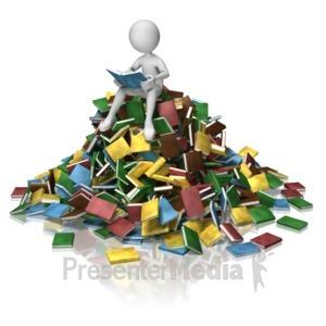 ID# 9092 - Stick Figure Book Pile Reading - Presentation Clipart