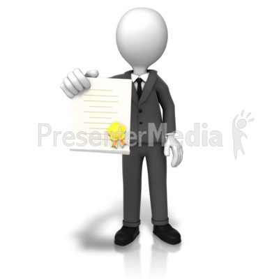 Man With Award Document PowerPoint Clip Art
