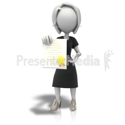 Woman With Award Document PowerPoint Clip Art
