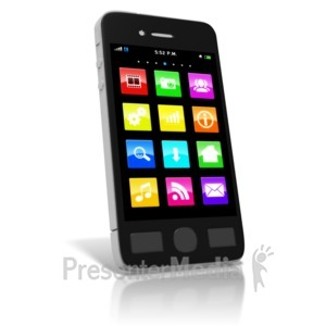 ID# 9121 - Smart Phone Media Icons - Presentation Clipart