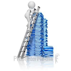 ID# 9130 - Stick Figure Climbing Books Ladder - Presentation Clipart