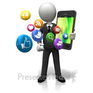 ID# 9132 - Holding Big Smart Phone Icons - Presentation Clipart
