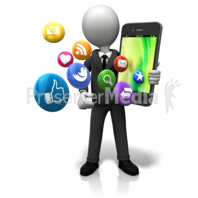 Holding Big Smart Phone Icons PowerPoint Clip Art