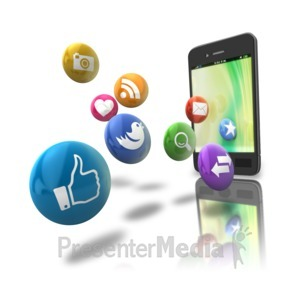 ID# 9133 - Smart Phone Floating Media Icons - Presentation Clipart