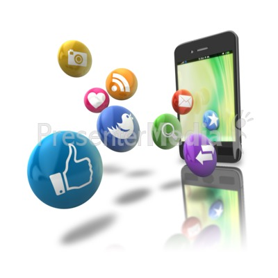 Smart Phone Floating Media Icons PowerPoint Clip Art