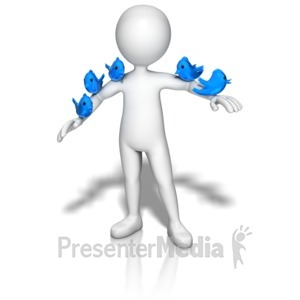ID# 9144 - Birds On Stick Figure - Presentation Clipart