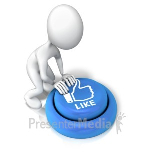 ID# 9155 - Figure Pushing Like Button - Presentation Clipart