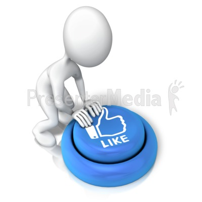 Figure Pushing Like Button PowerPoint Clip Art