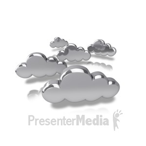 ID# 9187 - Silver Tech Clouds - Presentation Clipart