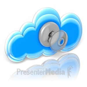 ID# 9207 - Cloud Lock and Key - Presentation Clipart