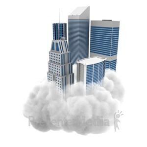 ID# 9209 - City On Cloud - Presentation Clipart