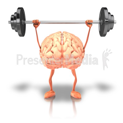 Exercising Weights Brain PowerPoint Clip Art