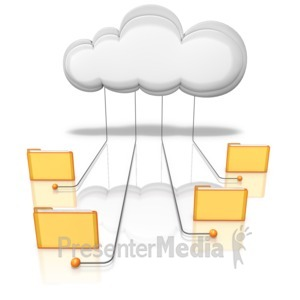 ID# 9226 - Folders Connected Into Cloud - Presentation Clipart