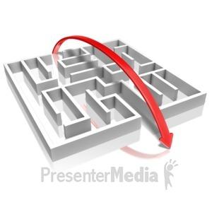 ID# 9232 - Arrow Over Maze - Presentation Clipart