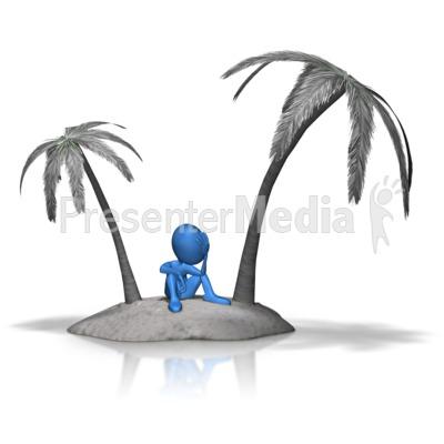 Stick Figure Stuck On Island PowerPoint Clip Art