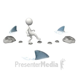 ID# 9237 - Risky Challenge Sharks - Presentation Clipart