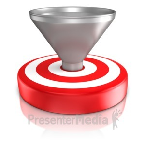 ID# 9239 - Funnel On Bullseye - Presentation Clipart