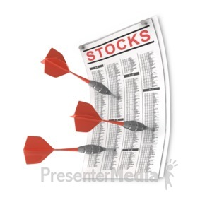 ID# 9264 - Darts Stuck Into Stock Page - Presentation Clipart
