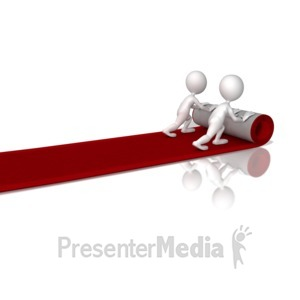 ID# 9275 - Figures Rolling Out Red Carpet - Presentation Clipart