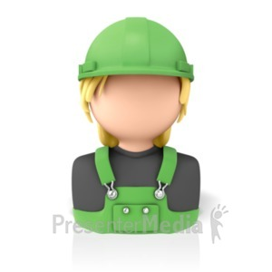 ID# 9307 - Woman Construction Icon - Presentation Clipart