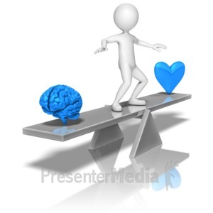 ID# 9342 - Stick Figure Balancing Mind Heart - Presentation Clipart