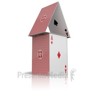 ID# 9356 - House Built Of Cards - Presentation Clipart