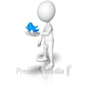 ID# 9375 - Holding A Tweet Bird - Presentation Clipart