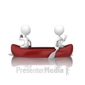 ID# 9423 - Poor Teamwork Canoe - Presentation Clipart