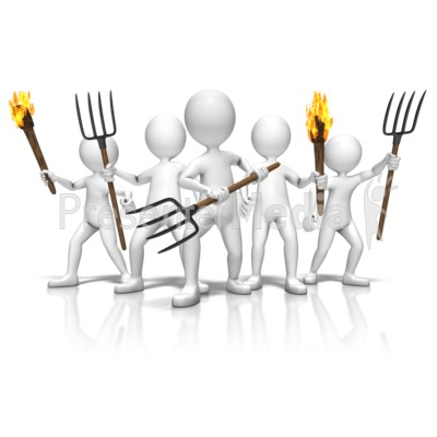 Group With Torches And Pitchforks - 3D Figures - Great Clipart for ... Unhappy Stick Figure