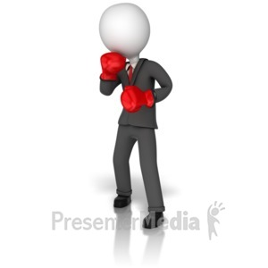 ID# 9457 - Business Boxer Stick Figure - Presentation Clipart