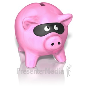 ID# 9463 - Piggy Bank Wearing Mask - Presentation Clipart