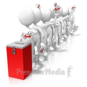 ID# 9468 - Voting Line Ballot Box - Presentation Clipart