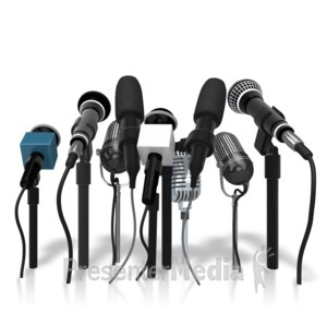 ID# 9496 - Group Microphones - Presentation Clipart