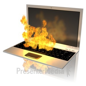ID# 9516 - Notebook On Fire - Presentation Clipart