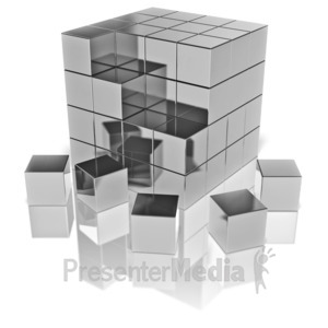 ID# 9555 - Cubes Fall Out - Presentation Clipart