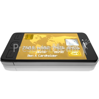 Mobile Credit Card PowerPoint Clip Art