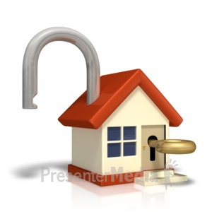 ID# 9575 - Unlocked House With Key - Presentation Clipart