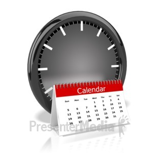 ID# 9588 - Clock And Calendar - Presentation Clipart