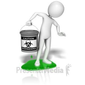 ID# 9635 - Stick Figure Biohazard Leak - Presentation Clipart