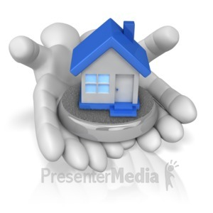 ID# 9640 - Hands Holding House - Presentation Clipart